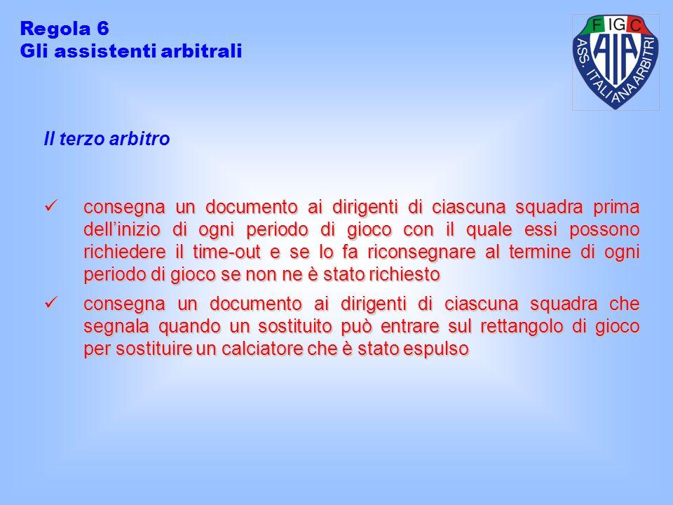 Il terzo arbitro consegna un documento ai dirigenti di ciascuna squadra prima dellinizio di ogni periodo di gioco con il quale essi possono richiedere