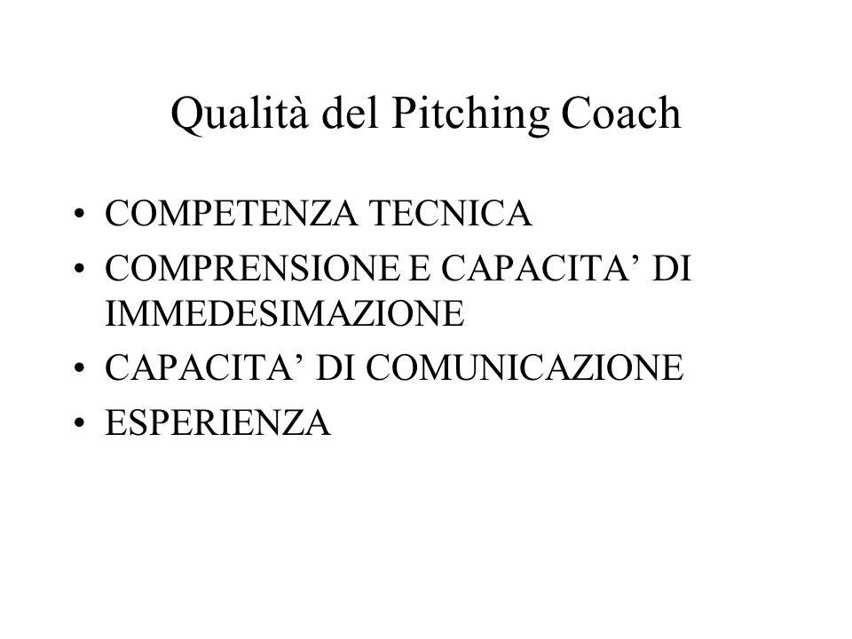 Qualità del Pitching Coach COMPETENZA TECNICA COMPRENSIONE E CAPACITA DI IMMEDESIMAZIONE CAPACITA DI COMUNICAZIONE ESPERIENZA
