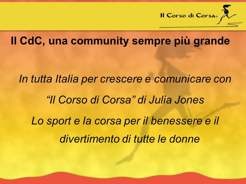 Il CdC, una community sempre più grande In tutta Italia per crescere e comunicare con Il Corso di Corsa di Julia Jones Lo sport e la corsa per il benessere e il divertimento di tutte le donne