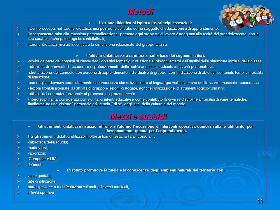 11 Metodi L'azione didattica si ispira a tre principi essenziali: L'azione didattica si ispira a tre principi essenziali: lalunno occupa, nellazione d