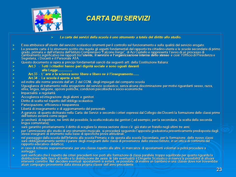 23 CARTA DEI SERVIZI La carta dei servizi della scuola è uno strumento a tutela del diritto allo studio. La carta dei servizi della scuola è uno strum