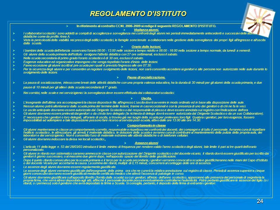 24 REGOLAMENTO DISTITUTO In riferimento al contratto CCNL 2006-2009 si redige il seguente REGOLAMENTO DISTITUTO. Vigilanza alunni. I collaboratori sco