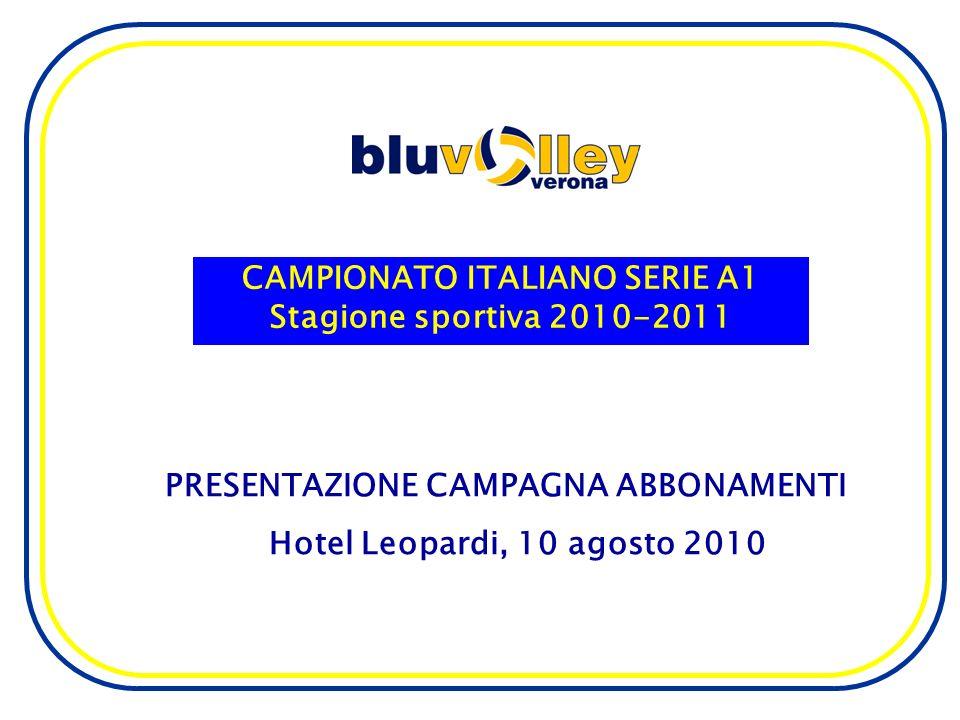 CAMPIONATO ITALIANO SERIE A1 Stagione sportiva 2010-2011 PRESENTAZIONE CAMPAGNA ABBONAMENTI Hotel Leopardi, 10 agosto 2010