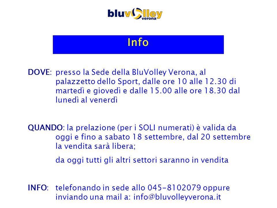 Info DOVE: presso la Sede della BluVolley Verona, al palazzetto dello Sport, dalle ore 10 alle 12.30 di martedì e giovedì e dalle 15.00 alle ore 18.30 dal lunedì al venerdì QUANDO: la prelazione (per i SOLI numerati) è valida da oggi e fino a sabato 18 settembre, dal 20 settembre la vendita sarà libera; da oggi tutti gli altri settori saranno in vendita INFO: telefonando in sede allo 045-8102079 oppure inviando una mail a: info@bluvolleyverona.it