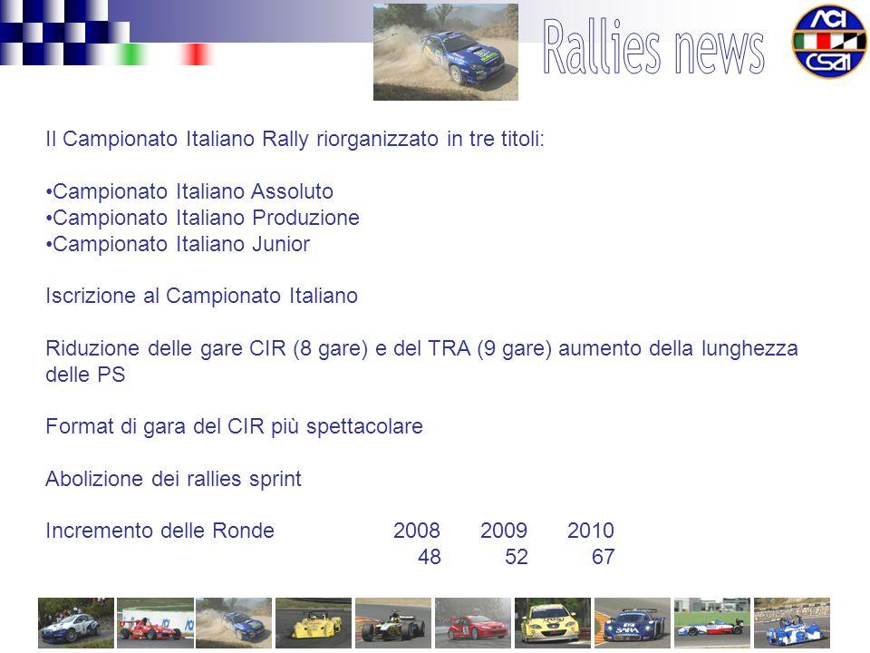Il Campionato Italiano Rally riorganizzato in tre titoli: Campionato Italiano Assoluto Campionato Italiano Produzione Campionato Italiano Junior Iscrizione al Campionato Italiano Riduzione delle gare CIR (8 gare) e del TRA (9 gare) aumento della lunghezza delle PS Format di gara del CIR più spettacolare Abolizione dei rallies sprint Incremento delle Ronde 2008 2009 2010 48 52 67