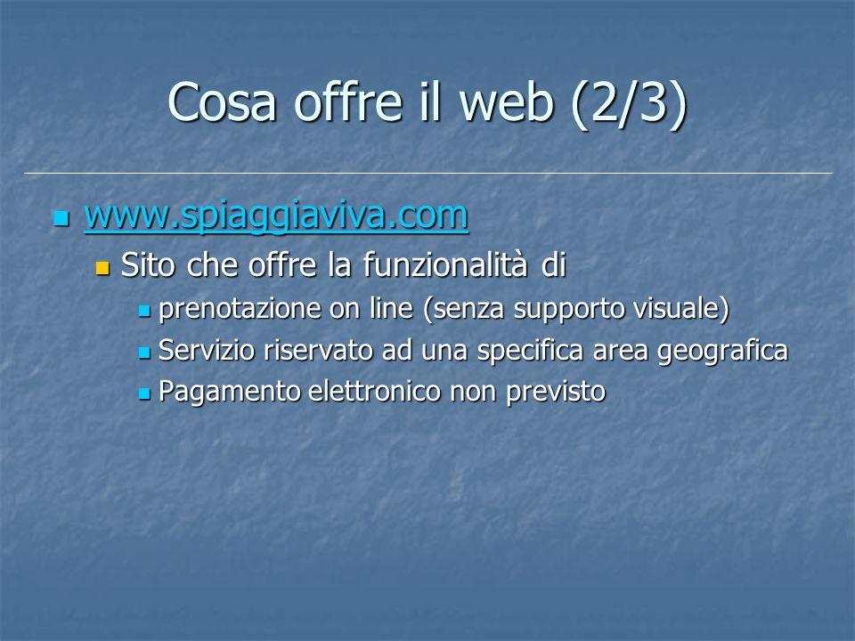 Cosa offre il web (2/3) www.spiaggiaviva.com www.spiaggiaviva.com www.spiaggiaviva.com Sito che offre la funzionalità di Sito che offre la funzionalit