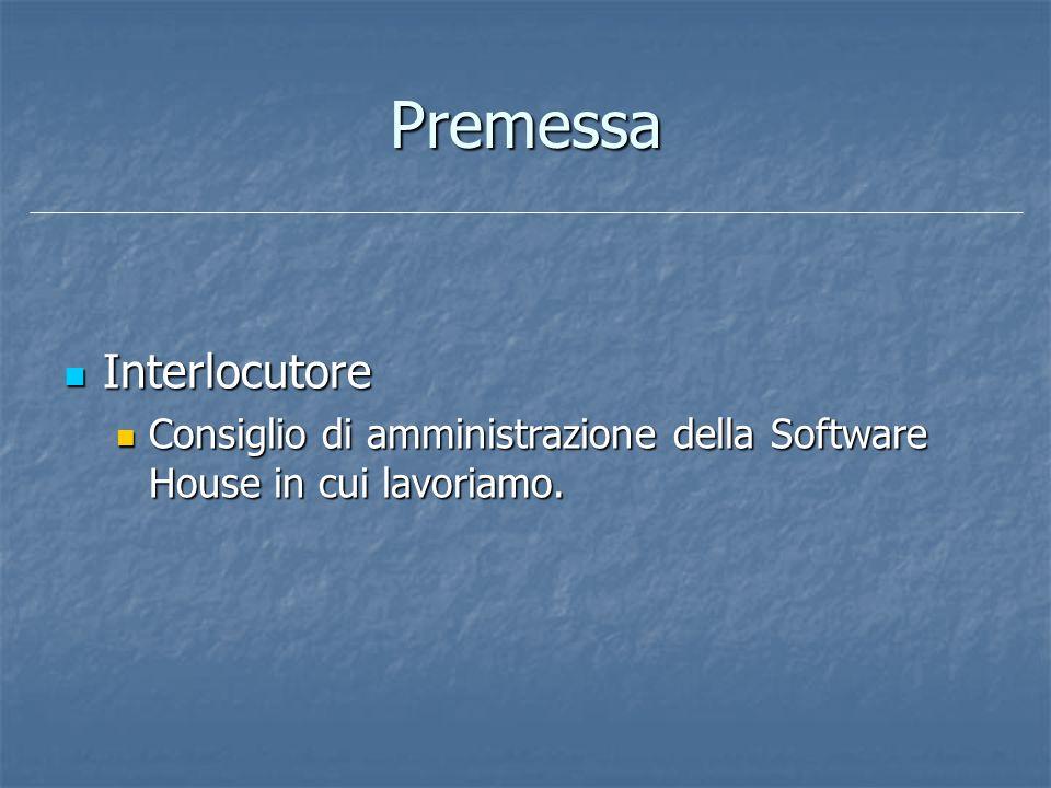 Premessa Interlocutore Interlocutore Consiglio di amministrazione della Software House in cui lavoriamo. Consiglio di amministrazione della Software H