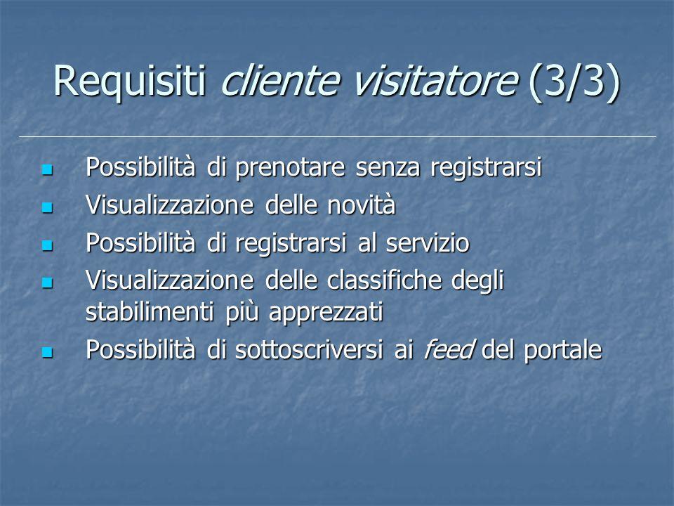 Requisiti cliente visitatore (3/3) Possibilità di prenotare senza registrarsi Possibilità di prenotare senza registrarsi Visualizzazione delle novità