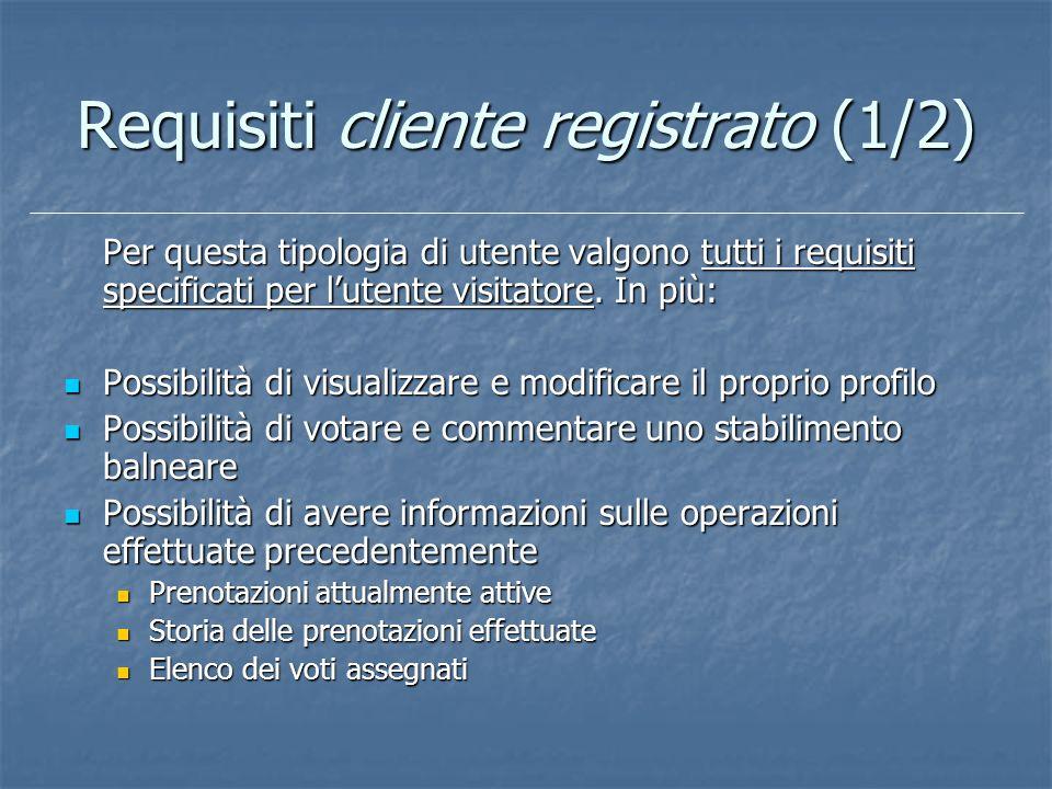 Requisiti cliente registrato (1/2) Per questa tipologia di utente valgono tutti i requisiti specificati per lutente visitatore. In più: Possibilità di