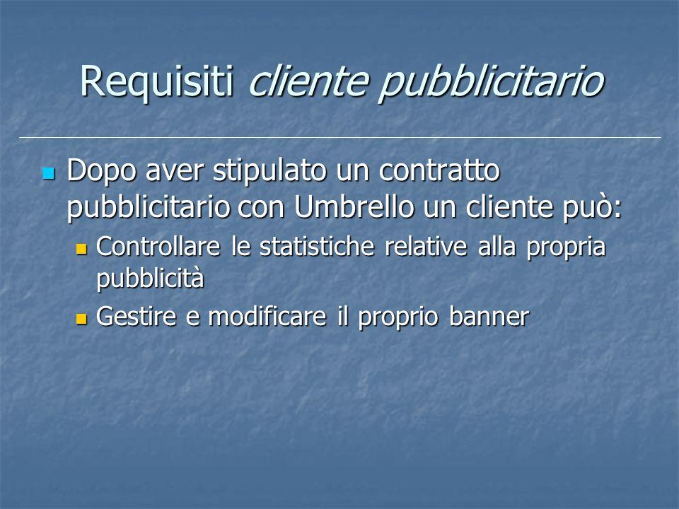 Requisiti cliente pubblicitario Dopo aver stipulato un contratto pubblicitario con Umbrello un cliente può: Dopo aver stipulato un contratto pubblicit
