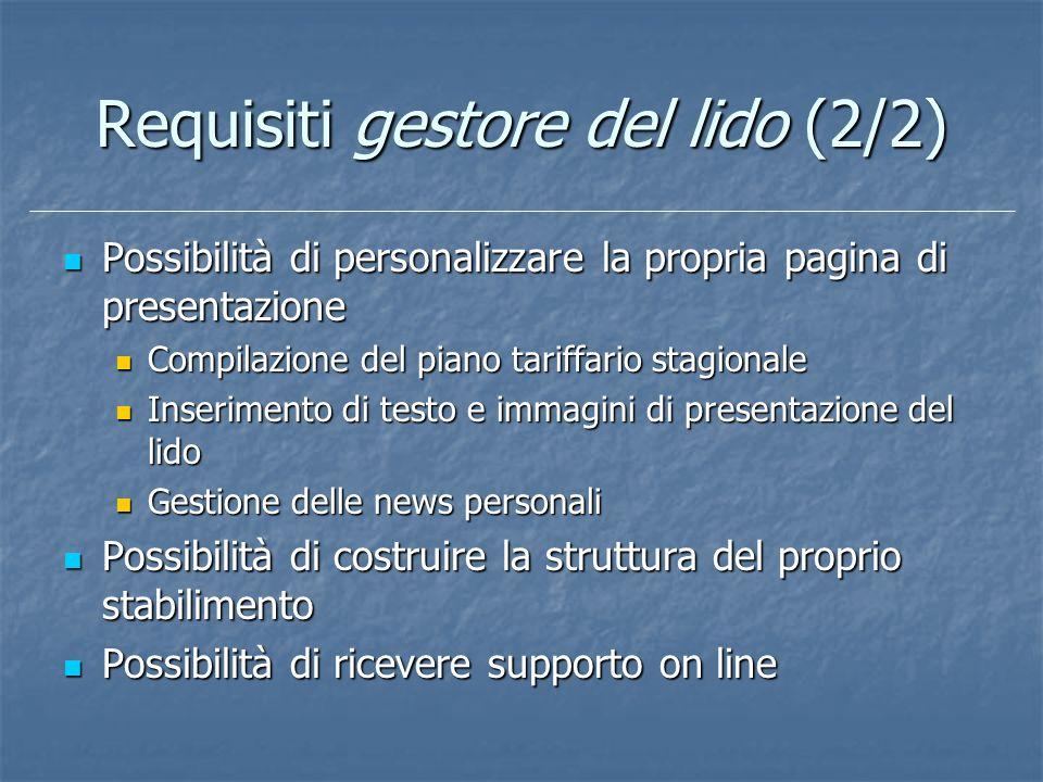 Requisiti gestore del lido (2/2) Possibilità di personalizzare la propria pagina di presentazione Possibilità di personalizzare la propria pagina di p