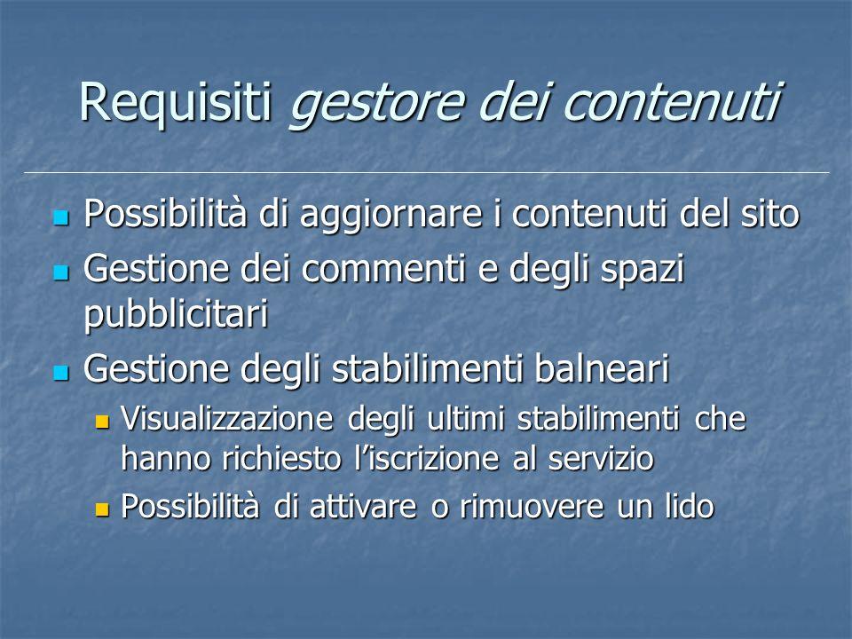 Requisiti gestore dei contenuti Possibilità di aggiornare i contenuti del sito Possibilità di aggiornare i contenuti del sito Gestione dei commenti e