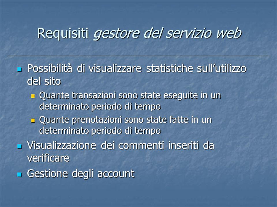 Requisiti gestore del servizio web Possibilità di visualizzare statistiche sullutilizzo del sito Possibilità di visualizzare statistiche sullutilizzo
