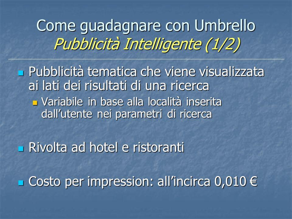 Come guadagnare con Umbrello Pubblicità Intelligente (1/2) Pubblicità tematica che viene visualizzata ai lati dei risultati di una ricerca Pubblicità