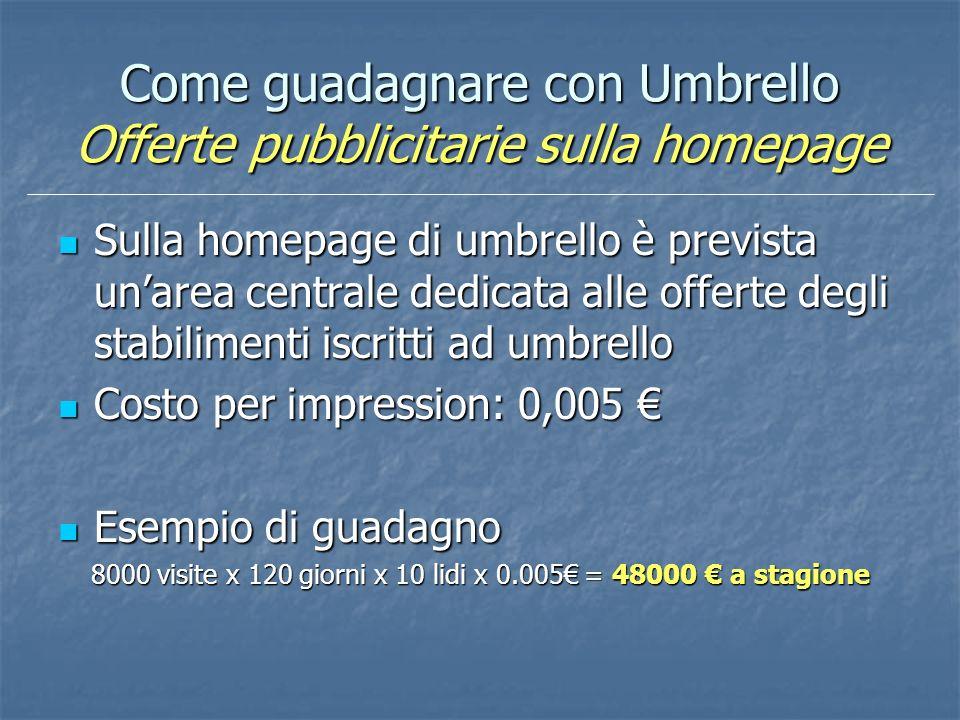 Come guadagnare con Umbrello Offerte pubblicitarie sulla homepage Sulla homepage di umbrello è prevista unarea centrale dedicata alle offerte degli st