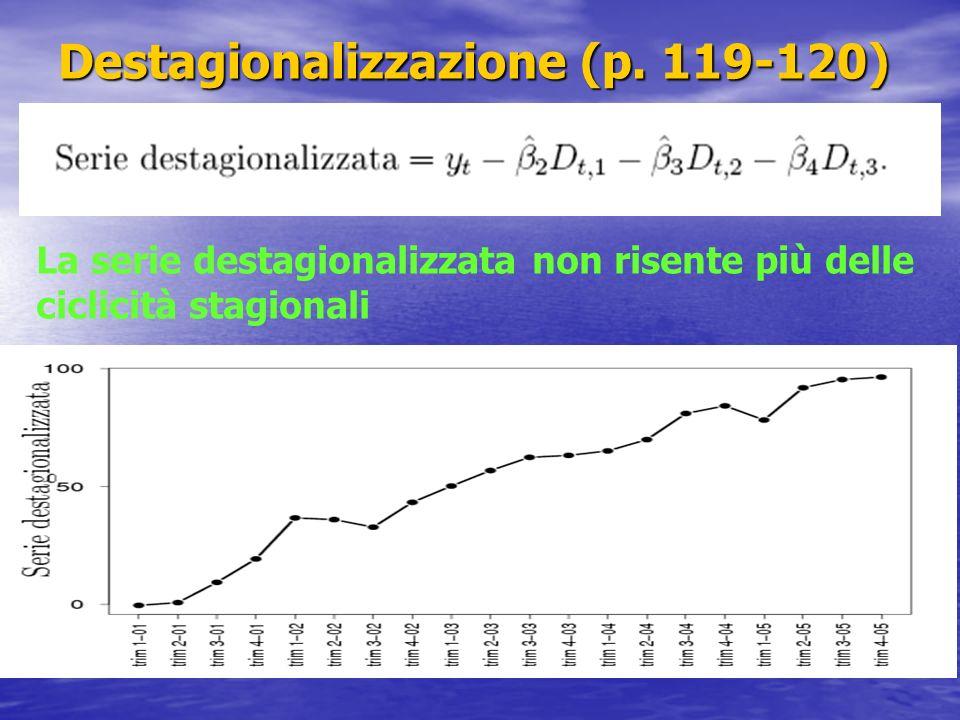 Destagionalizzazione (p. 119-120) La serie destagionalizzata non risente più delle ciclicità stagionali