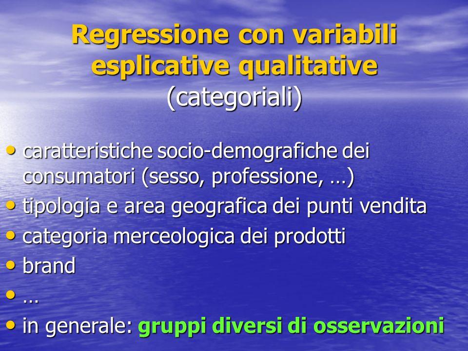 Regressione con variabili esplicative qualitative (categoriali) caratteristiche socio-demografiche dei consumatori (sesso, professione, …) caratterist