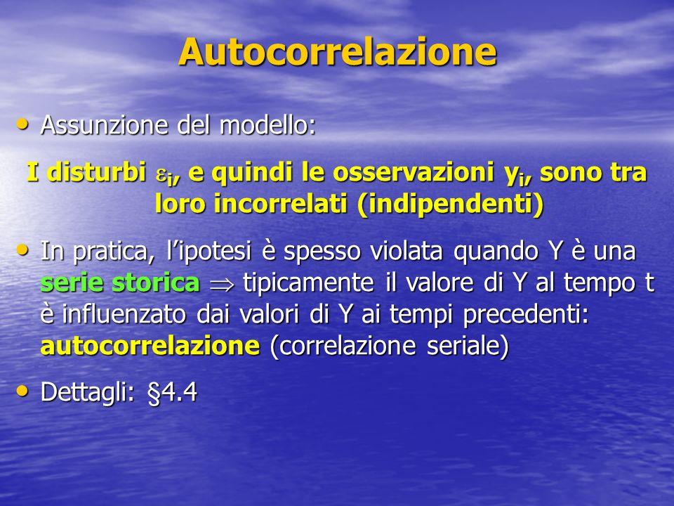 Autocorrelazione Assunzione del modello: Assunzione del modello: I disturbi i, e quindi le osservazioni y i, sono tra loro incorrelati (indipendenti)