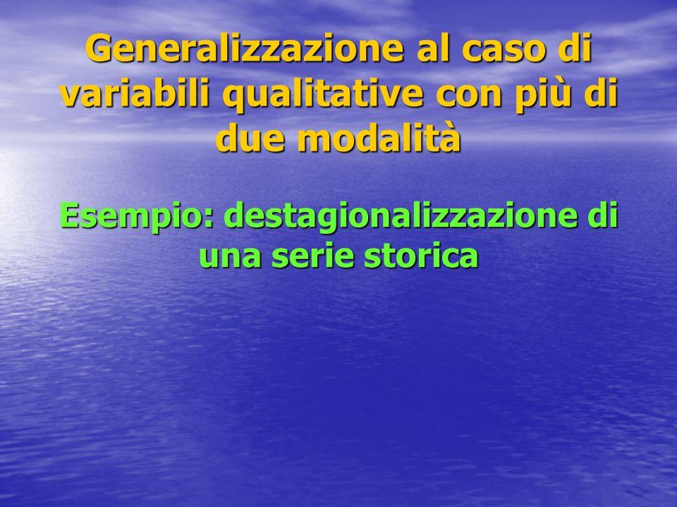 Generalizzazione al caso di variabili qualitative con più di due modalità Esempio: destagionalizzazione di una serie storica
