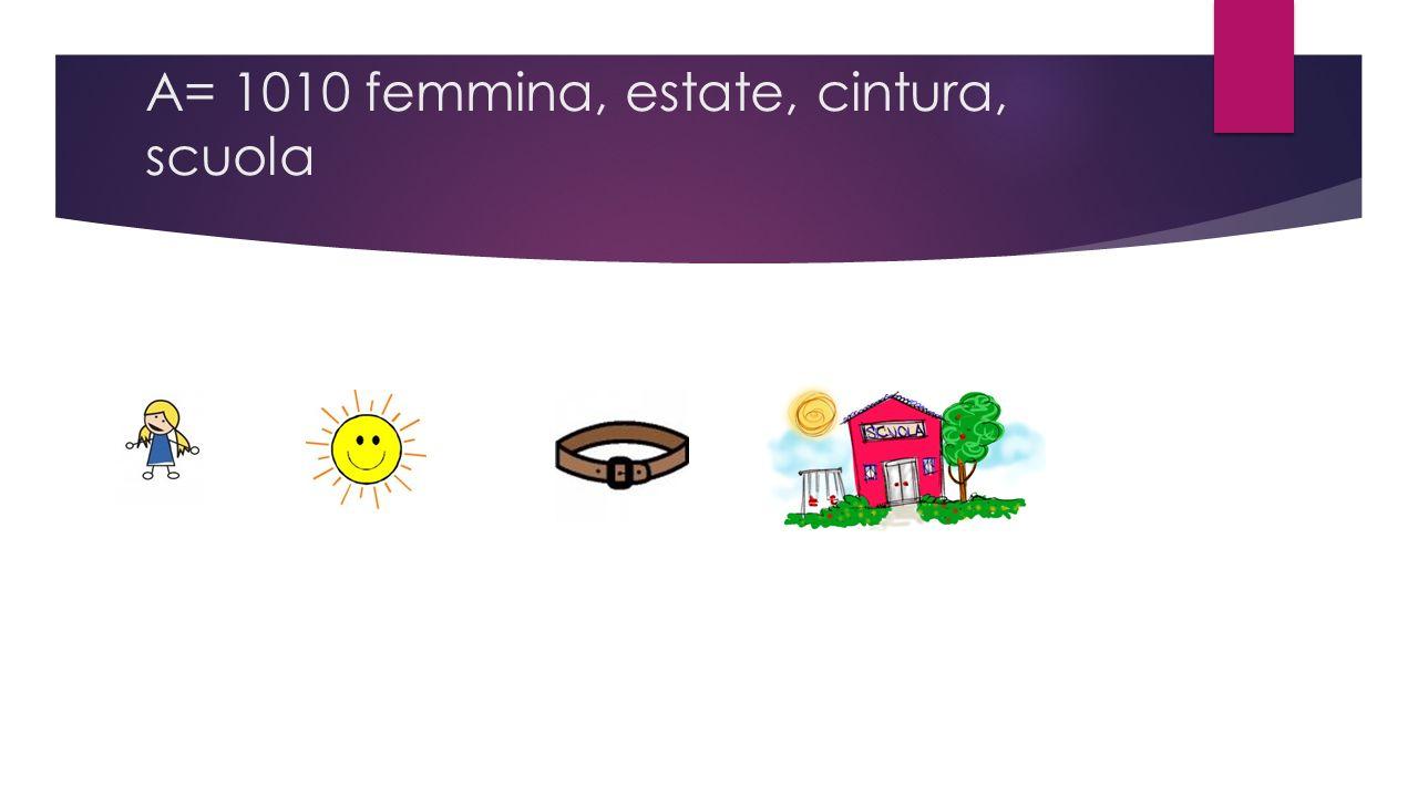 A= 1010 femmina, estate, cintura, scuola