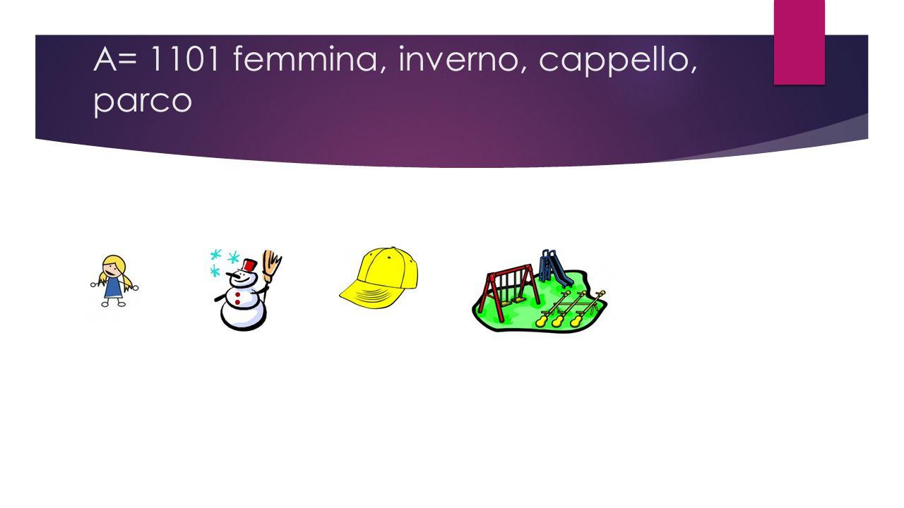 A= 1101 femmina, inverno, cappello, parco