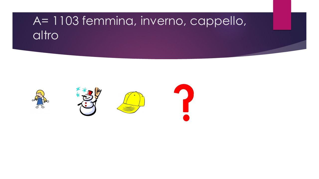 A= 1103 femmina, inverno, cappello, altro