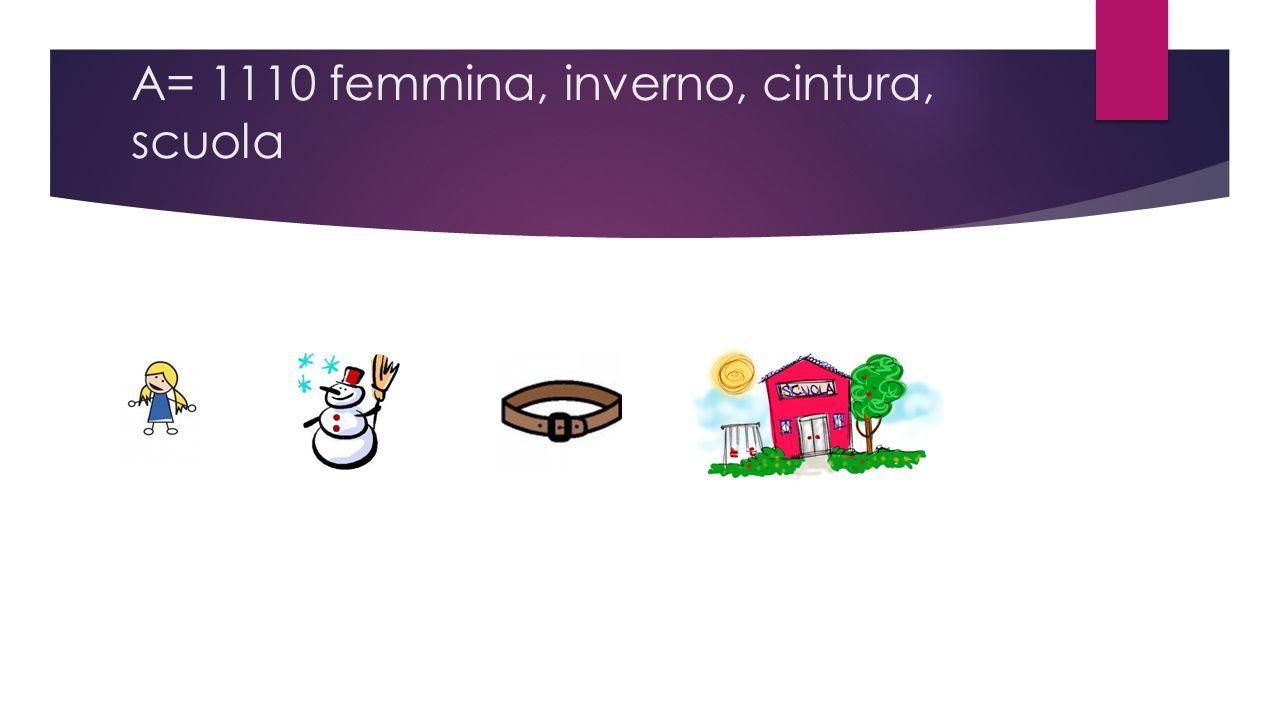 A= 1110 femmina, inverno, cintura, scuola