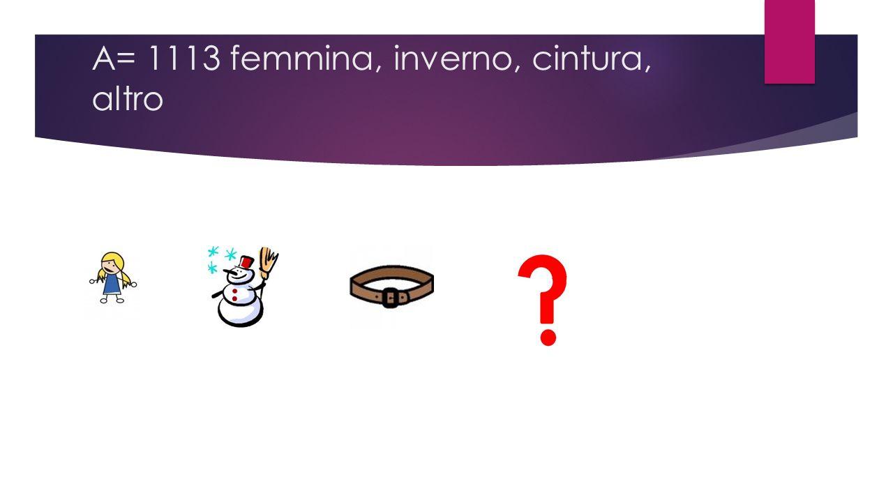 A= 1113 femmina, inverno, cintura, altro