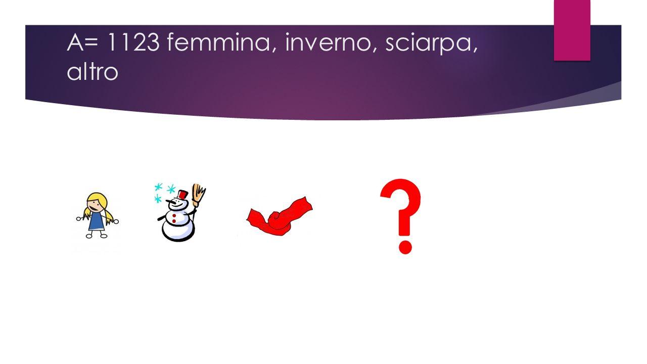 A= 1123 femmina, inverno, sciarpa, altro