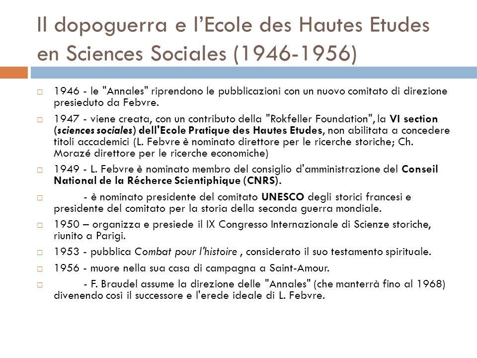 Il dopoguerra e lEcole des Hautes Etudes en Sciences Sociales (1946-1956) 1946 - le Annales riprendono le pubblicazioni con un nuovo comitato di direzione presieduto da Febvre.