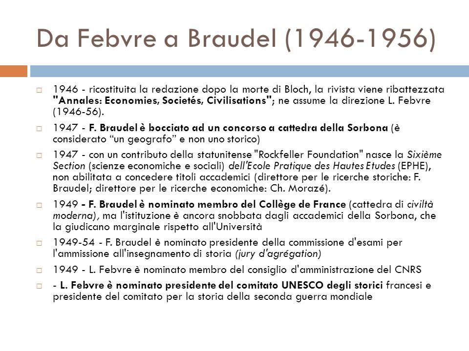 Da Febvre a Braudel (1946-1956) 1946 - ricostituita la redazione dopo la morte di Bloch, la rivista viene ribattezzata Annales: Economies, Societés, Civilisations ; ne assume la direzione L.