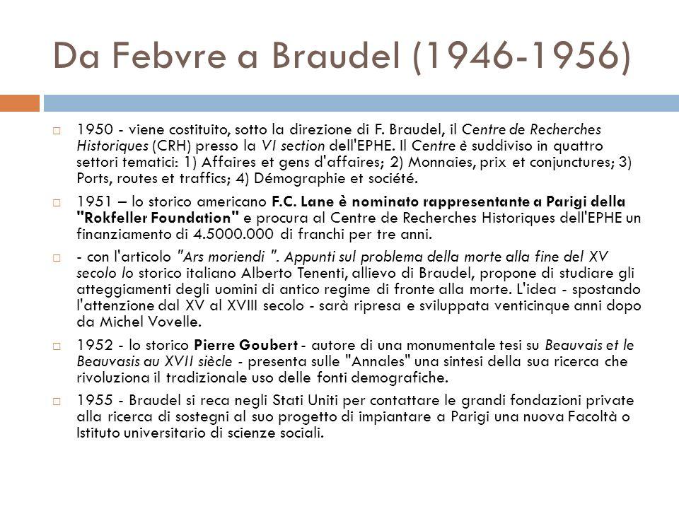 Da Febvre a Braudel (1946-1956) 1950 - viene costituito, sotto la direzione di F. Braudel, il Centre de Recherches Historiques (CRH) presso la VI sect