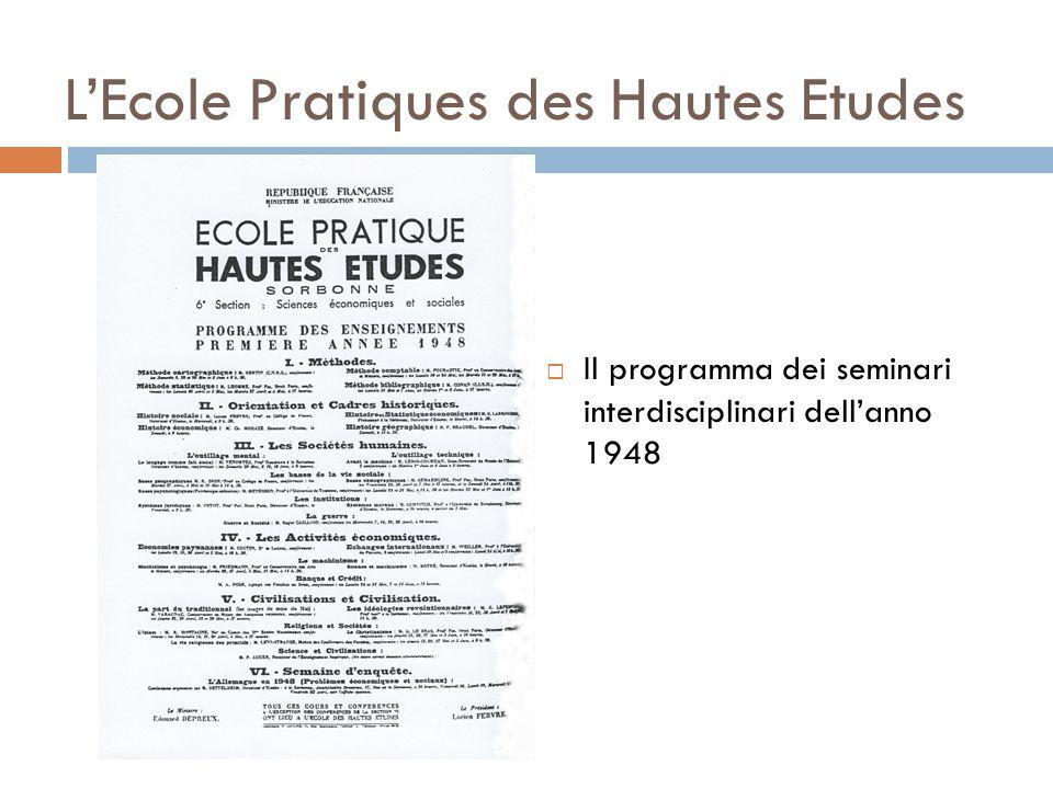 LEcole Pratiques des Hautes Etudes Il programma dei seminari interdisciplinari dellanno 1948