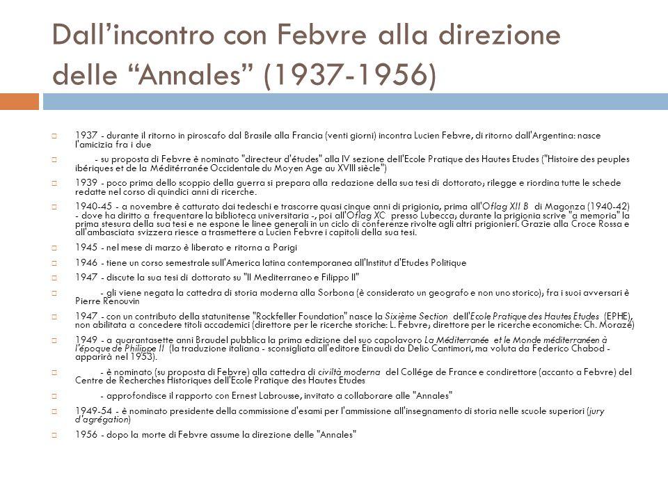 Dallincontro con Febvre alla direzione delle Annales (1937-1956) 1937 - durante il ritorno in piroscafo dal Brasile alla Francia (venti giorni) incont
