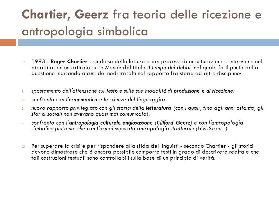 Chartier, Geerz fra teoria delle ricezione e antropologia simbolica 1993 - Roger Chartier - studioso della lettura e dei processi di acculturazione -