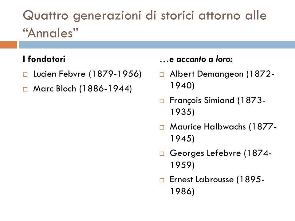 Quattro generazioni di storici attorno alle Annales I fondatori Lucien Febvre (1879-1956) Marc Bloch (1886-1944) …e accanto a loro: Albert Demangeon (1872- 1940) François Simiand (1873- 1935) Maurice Halbwachs (1877- 1945) Georges Lefebvre (1874- 1959) Ernest Labrousse (1895- 1986)