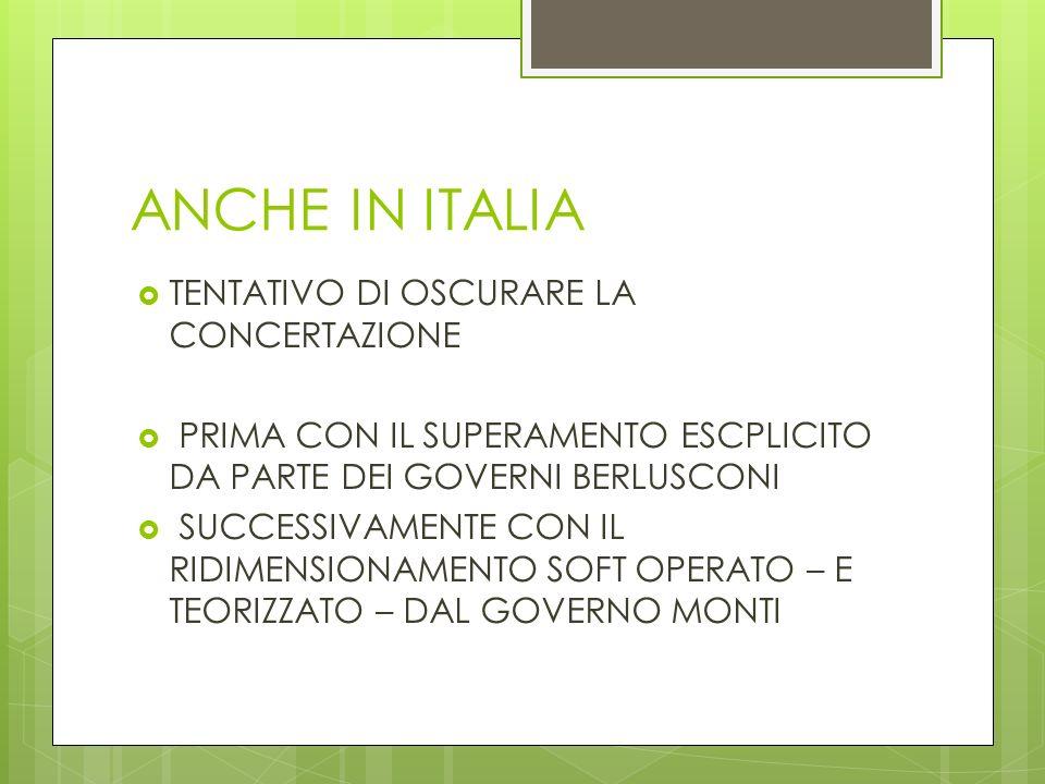 ANCHE IN ITALIA TENTATIVO DI OSCURARE LA CONCERTAZIONE PRIMA CON IL SUPERAMENTO ESCPLICITO DA PARTE DEI GOVERNI BERLUSCONI SUCCESSIVAMENTE CON IL RIDIMENSIONAMENTO SOFT OPERATO – E TEORIZZATO – DAL GOVERNO MONTI