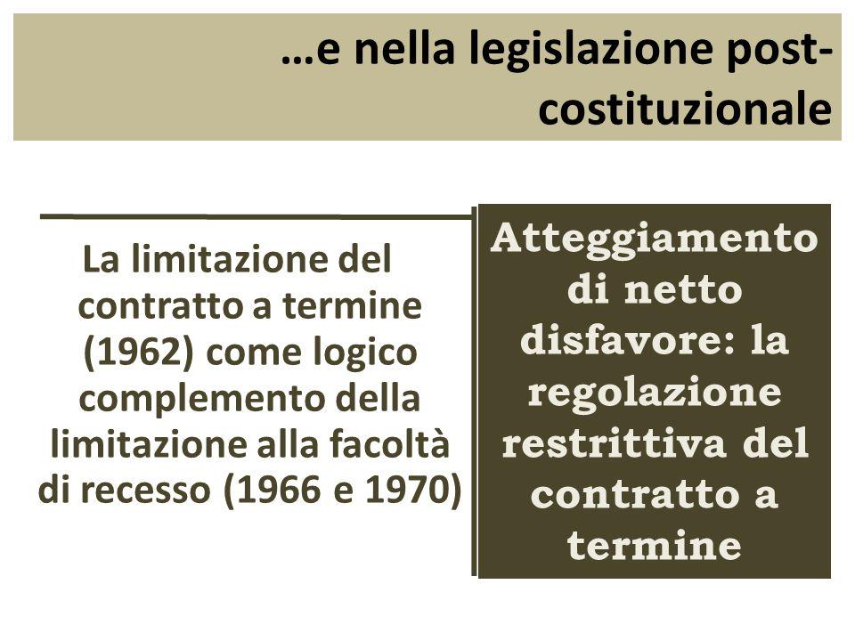 La formula della stabilità nel diritto del lavoro italiano degli anni 60-70 Limiti al contratto a termine + Limiti alla possibilità di licenziare = ______________________________________ _______ Stabilità massima del posto di lavoro Una proposta in discussione: Contratto a tempo indeterminato per tutti ma con maggiore possibilità di licenziare (Boeri-Garibaldi) Una proposta in discussione: Contratto a tempo indeterminato per tutti ma con maggiore possibilità di licenziare (Boeri-Garibaldi) Gli sviluppi successivi: Labbandono della stabilità massima realizzato attraverso un progressivo allentamento dei vincoli al contratto a termine (mentre resta inalterata la disciplina dei licenziamenti) Gli sviluppi successivi: Labbandono della stabilità massima realizzato attraverso un progressivo allentamento dei vincoli al contratto a termine (mentre resta inalterata la disciplina dei licenziamenti)
