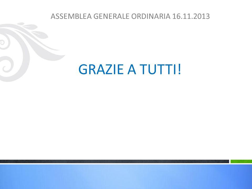 GRAZIE A TUTTI! ASSEMBLEA GENERALE ORDINARIA 16.11.2013