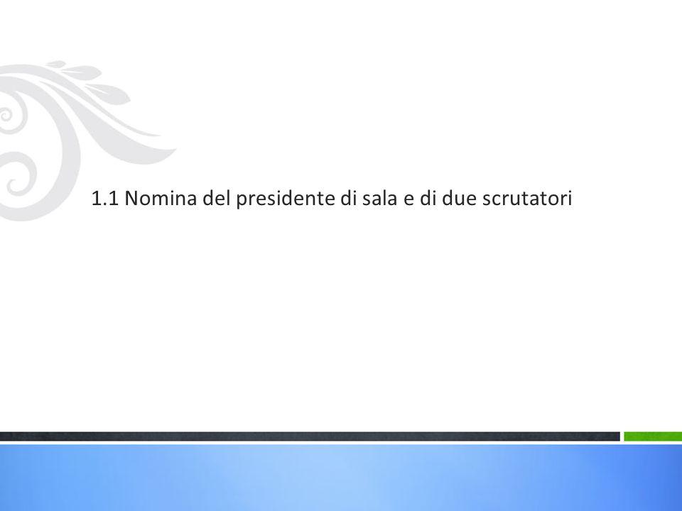 1.1 Nomina del presidente di sala e di due scrutatori