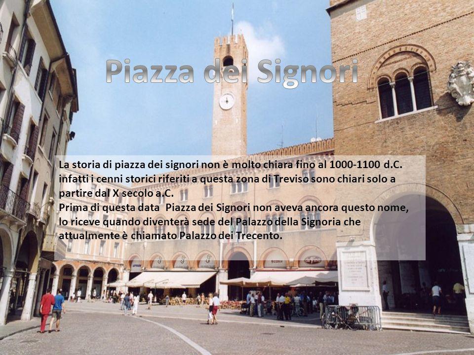 La storia di piazza dei signori non è molto chiara fino al 1000-1100 d.C. infatti i cenni storici riferiti a questa zona di Treviso sono chiari solo a
