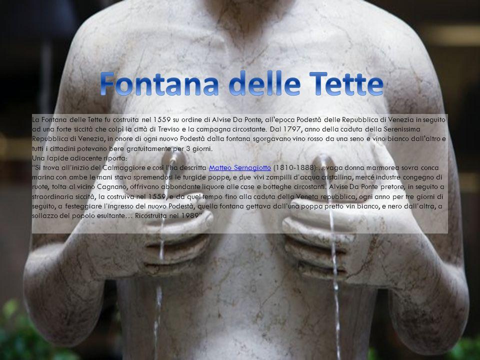 La Fontana delle Tette fu costruita nel 1559 su ordine di Alvise Da Ponte, all epoca Podestà delle Repubblica di Venezia in seguito ad una forte siccità che colpì la città di Treviso e la campagna circostante.