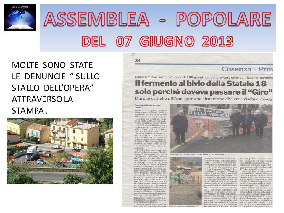Perchè la città di Paola non sia più presa in giro e per ridare un po più di dignità alla sua gente l Associazione Liberisempre indice un assemblea aperta a tutti, per giorno 7 venerdi alle ore 19 presso il DLF di Paola.