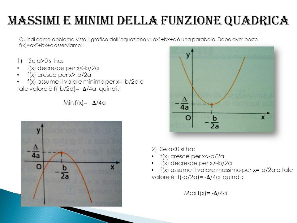 Massimi e minimi della funzione quadrica Quindi come abbiamo visto il grafico dellequazione y=ax ² +bx+c è una parabola. Dopo aver posto f(x)=ax ² +bx
