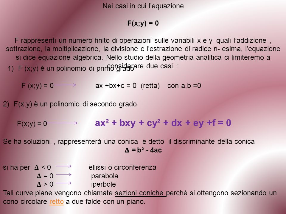 Riferiamo gli elementi della definizione ad una coppia di assi ortogonali di cui quello delle y passa per F ed è perpendicolare alla retta data d; lorigine o ( sullasse y) è il punto equidistante da F e da d (vertice della parabola);lasse x è parallelo alla retta d.