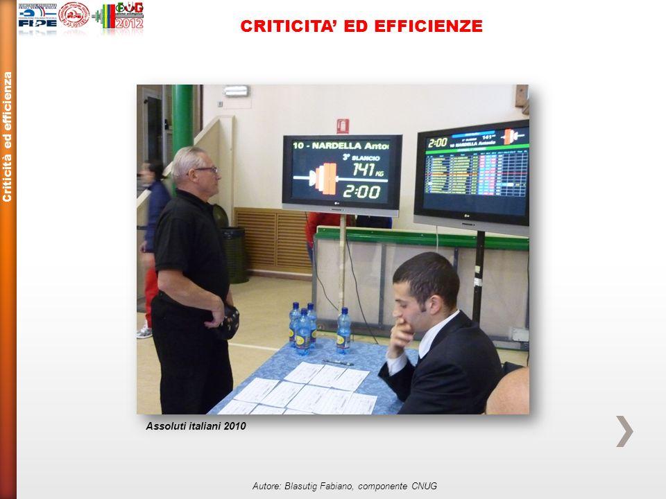1.VALUTAZIONI DI UNA GARA 1. Criticità ed efficienza CAMPIONATI ITALIANI SENIORES 2011 - S.