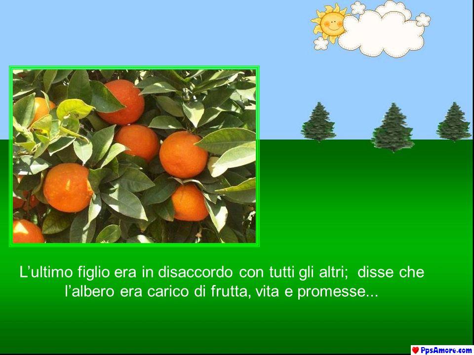 Lultimo figlio era in disaccordo con tutti gli altri; disse che lalbero era carico di frutta, vita e promesse...