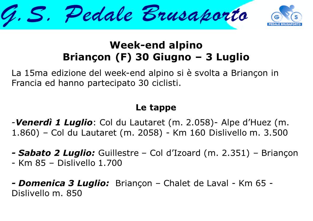 Week-end alpino Briançon (F) 30 Giugno – 3 Luglio La 15ma edizione del week-end alpino si è svolta a Briançon in Francia ed hanno partecipato 30 cicli
