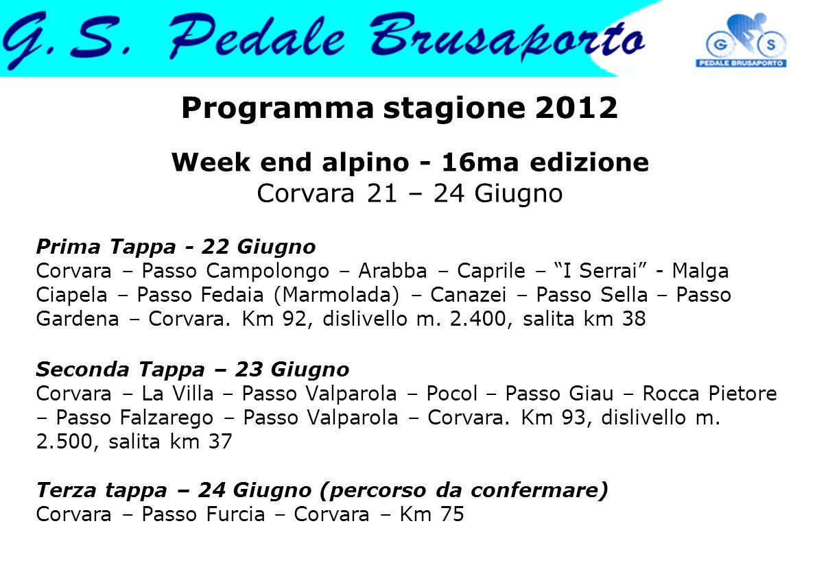Programma stagione 2012 Week end alpino - 16ma edizione Corvara 21 – 24 Giugno Prima Tappa - 22 Giugno Corvara – Passo Campolongo – Arabba – Caprile –