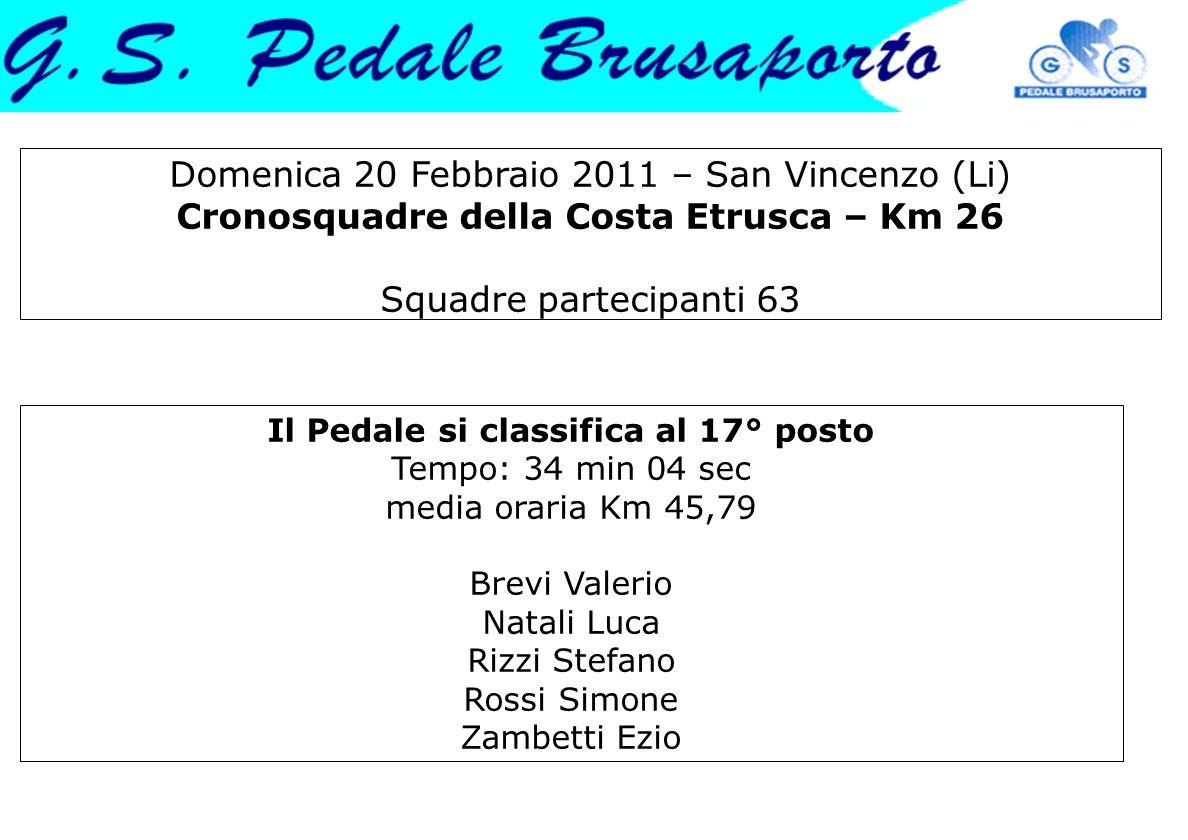 Domenica 20 Febbraio 2011 – San Vincenzo (Li) Cronosquadre della Costa Etrusca – Km 26 Squadre partecipanti 63 Il Pedale si classifica al 17° posto Te